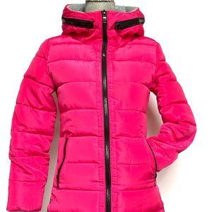 Hot pink puffer jacket w hand warmer cuffs, size S